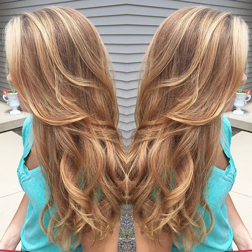 caramel hair color with highlights