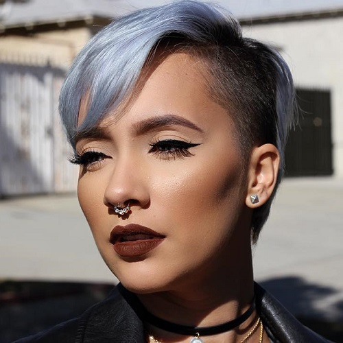 Short Asymmetrical Pastel Blue Undercut