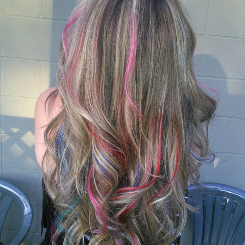 brown hair with multi-colored highlights