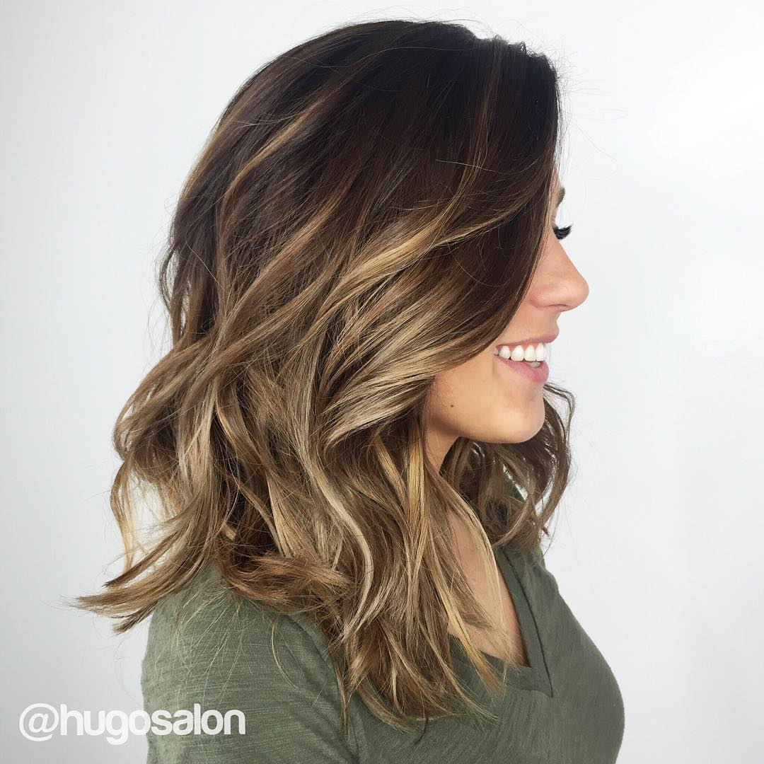 Balayage dark brown long hair