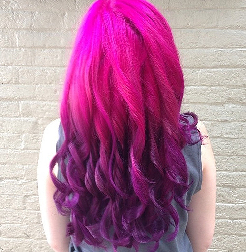 magenta pink to purple ombre hair