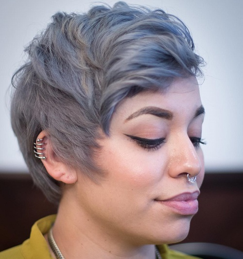 Gray Pixie With Blue Highlights