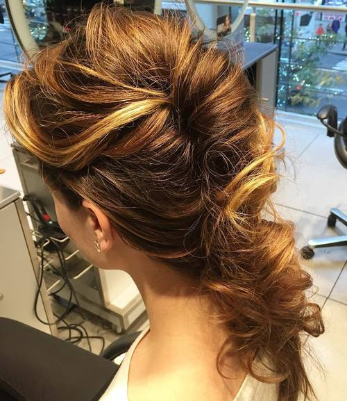 messy french twist with a low pony