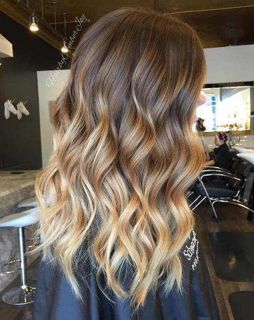 Balayage Ombre Hair Brown with Blonde Highlights