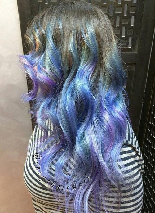 balayage blue and purple