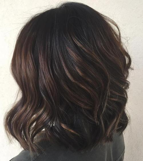 Black Hair With Chocolate Highlights