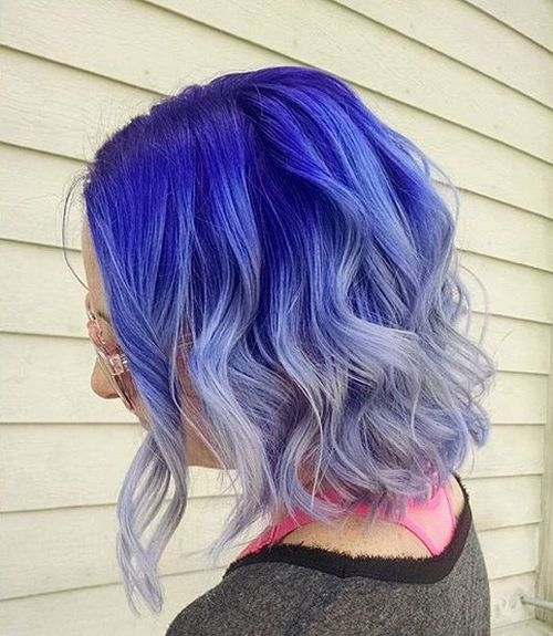 purple into silver ombre bob