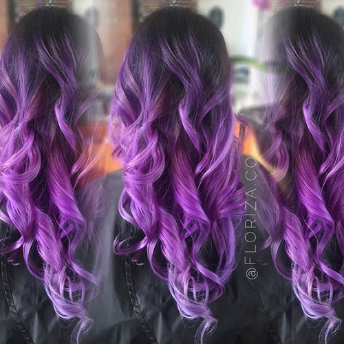 dark brown to purple ombre curls