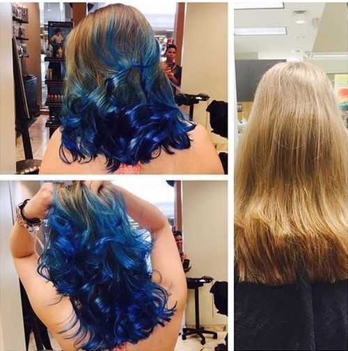 blue ombre for light brown hair