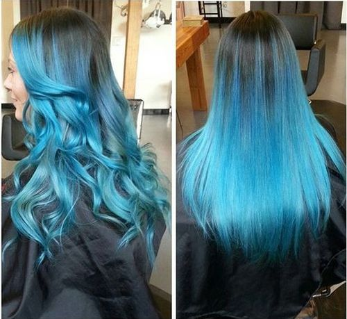light brown hair with turquoise blue ombre