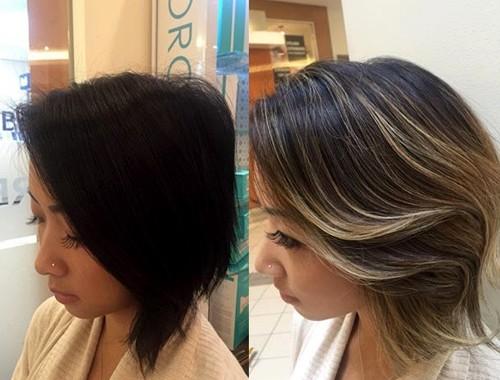 light brown balayage for dark short hair
