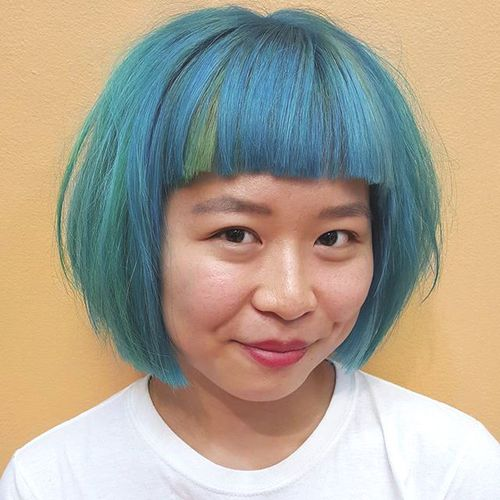 pastel blue chin-length bob