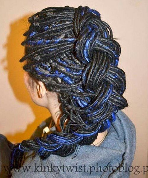 skinny dreads with blue highlights