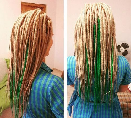 blonde dreadlocks with green highlights