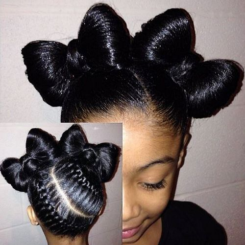 braided bow updo for girls