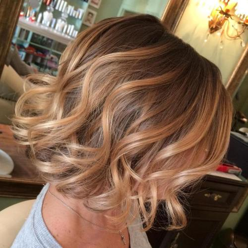 Strawberry Blonde Balayage Bob