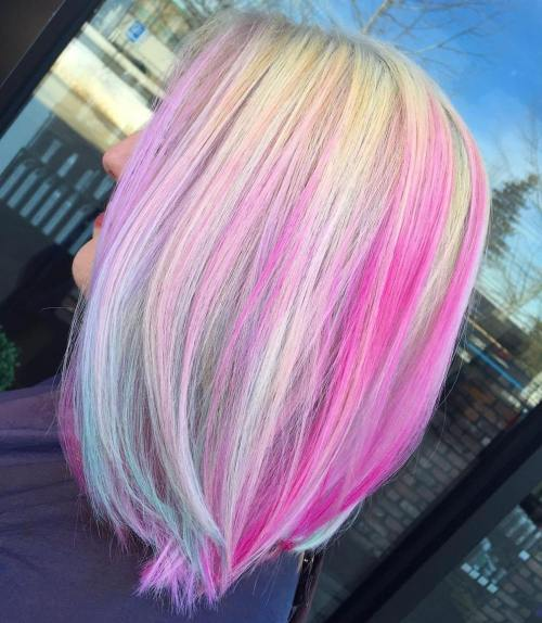 pink hairstyles pastel colors