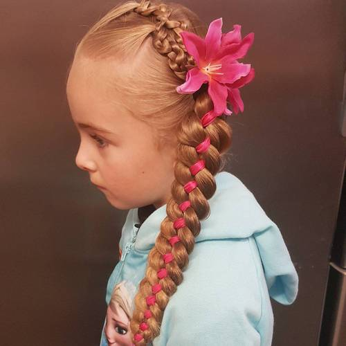 side braid with a ribbon