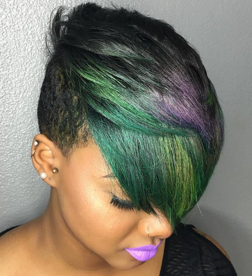 Black Pixie With Side Undercut