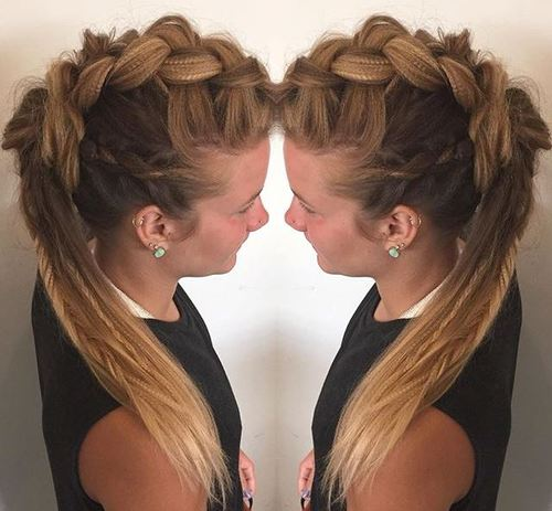 braided fauxhawk with crimped hair