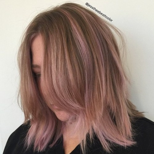 Shaggy Bob With Pastel Pink Highlights