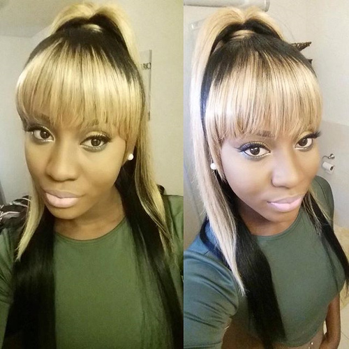 black and blonde pony for African American women