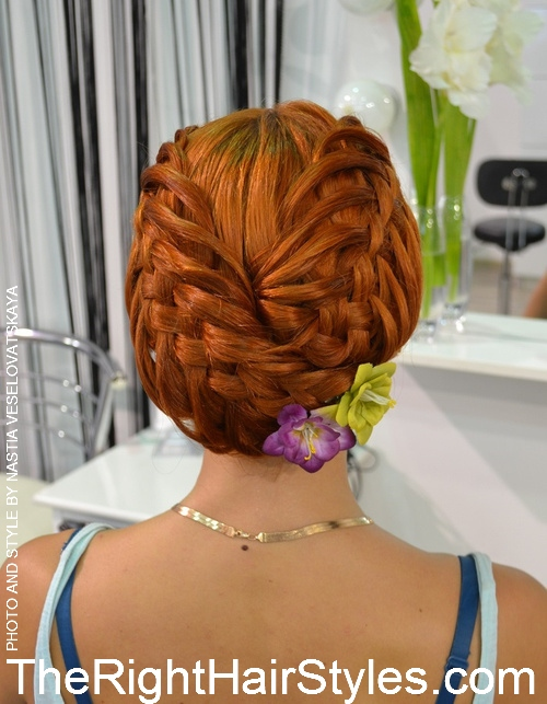 creative braided updo for medium hair