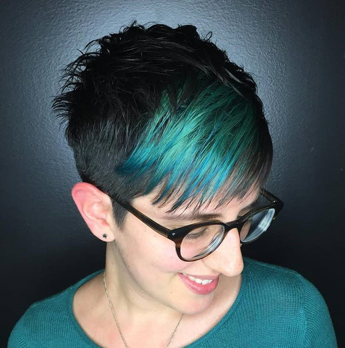 Short Black Pixie With Colorful Bangs
