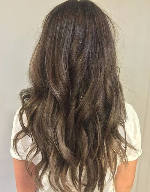 long layered ash brown ombre