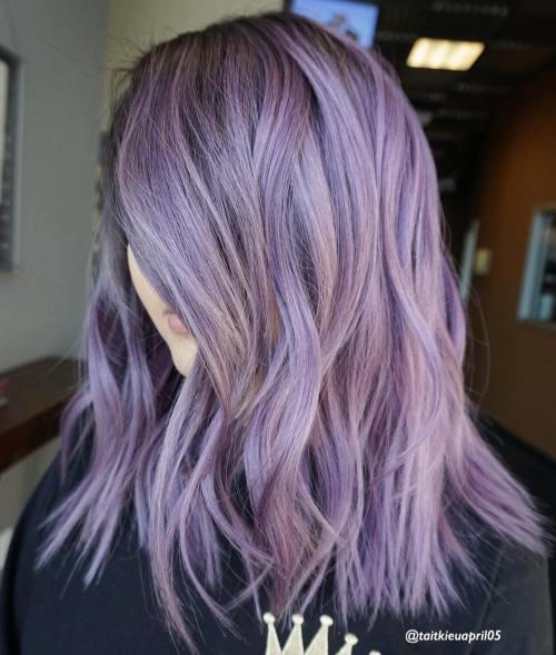 Medium Choppy Pastel Purple Hairstyle