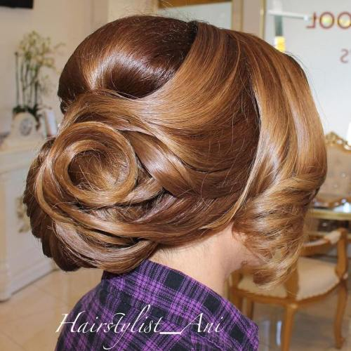 Curly Chignon Formal Updo