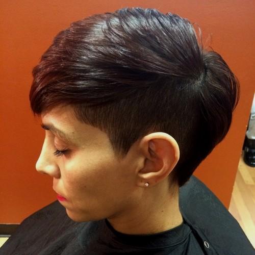 women's short asymmetrical haircut with undercut