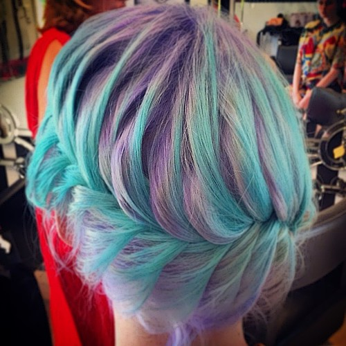 lavender hair with turquoise highlights