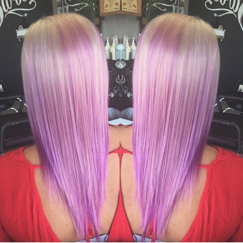 long layered pastel purple hair