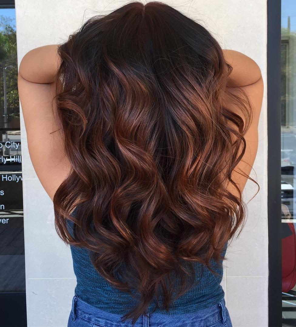 Chocolate Brown Balayage For Black Hair