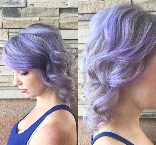 wavy pastel purple hairstyle