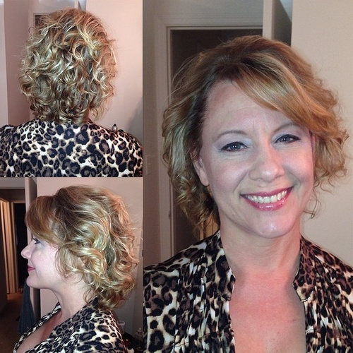 blonde perm hairstyle with bangs