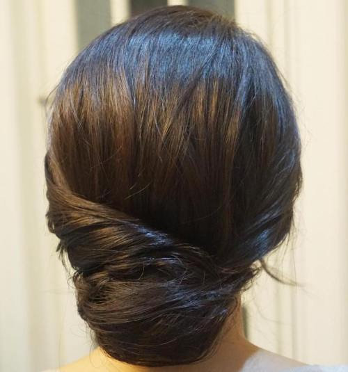 Low Formal Chignon For Medium Hair