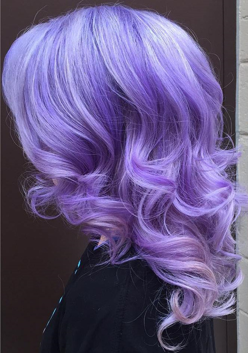 medium length pastel purple hairstyle
