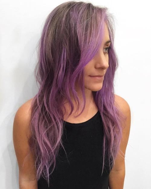 pastel purple balayage for light brown hair