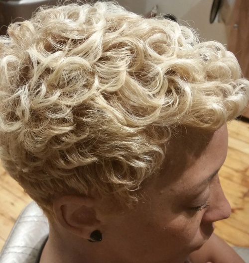 short blonde permed hairstyle for black women