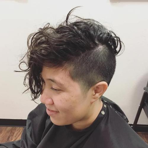 Short Half Shaved Half Permed Hairstyle