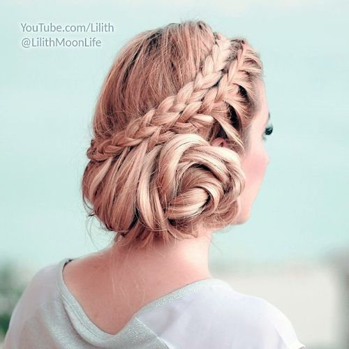 two braids messy updo