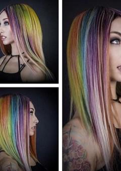 chestnut hair with rainbow highlights