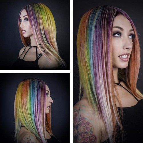 chestnut hair with rainbow highlights