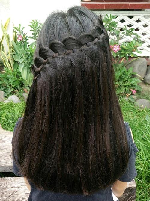 lace braid half updo