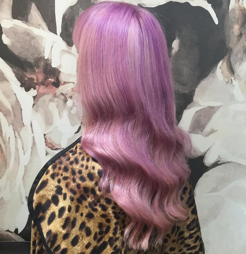 smooth wavy pastel purple hairstyle