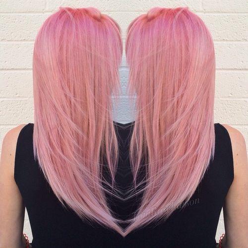 pastel pink layered hairstyle