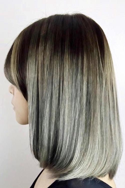 brown to gray ombre bob