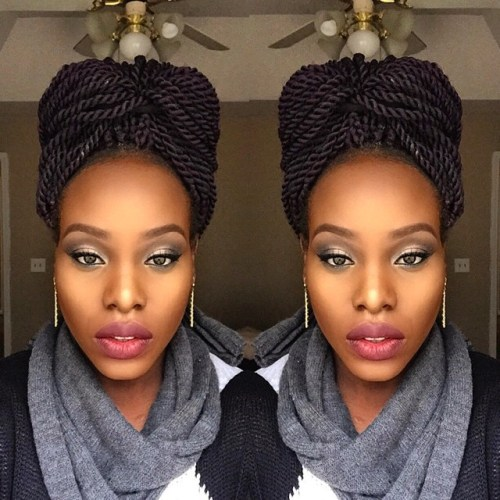 bow updo for Senegalese twists